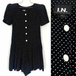 Vintage 1990's black & white polka dot romper